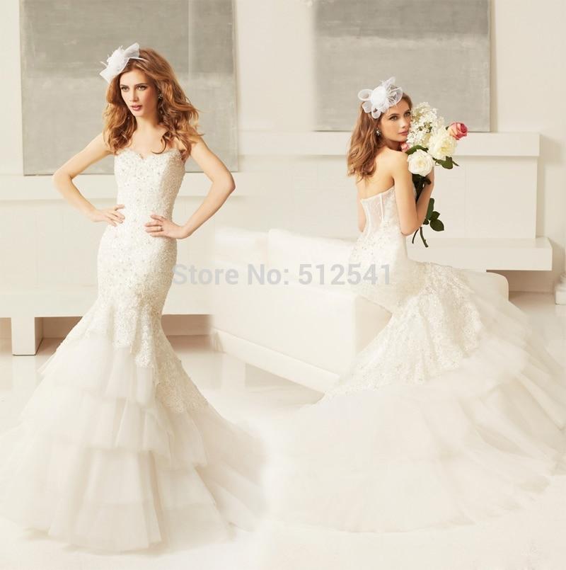 2018 Charming Mermaid Trumpet Sweetheart Wedding Dresses 2019 Lace Applique Beads Sequin Layers Bridal Gowns Vestido De Noiva