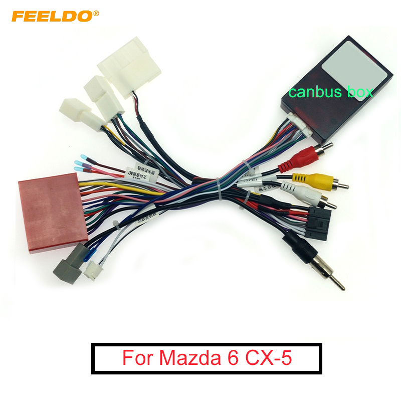 feeldo car 16pin audio wiring harness with canbus box for mazda 6 cx 5  stereo installation wire adapter cables, adapters & sockets  - aliexpress  aliexpress