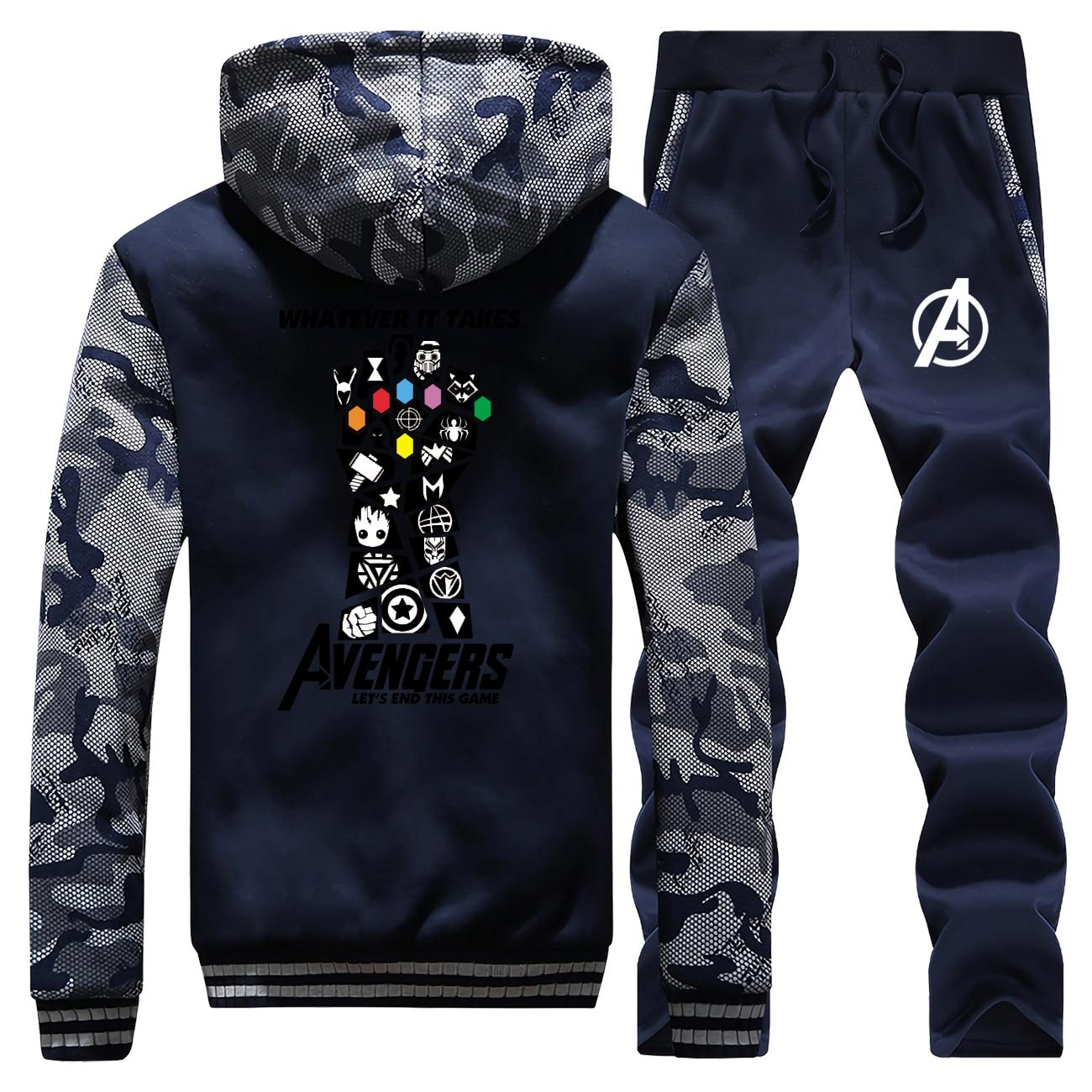 Marvel Thanos Infinity Gauntlet Jacket+Pant 2pcs Set Men Coat Thick Camouflage Sweatshirt Fashion Hoodies Mens Hip Hop Tracksuit