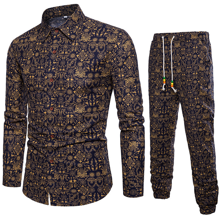 2019 New Style Chinese-style Set Nation Wind Flower Pants Flax Set Men's Loose And Plus-sized Set