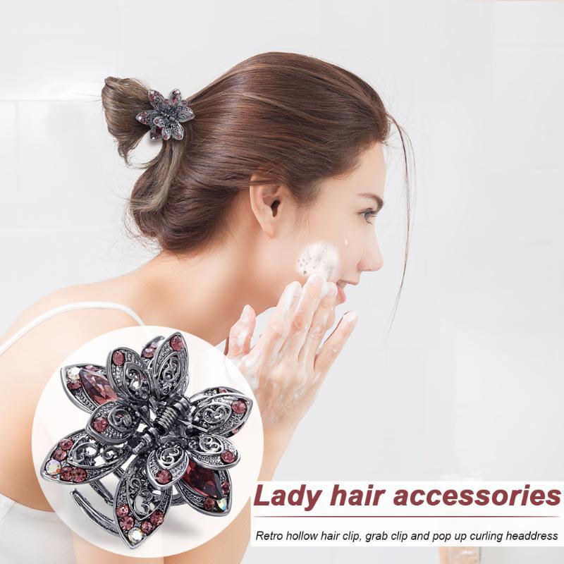 Цветок Стразы Когти для волос женщин девочек заколки 3 цвета