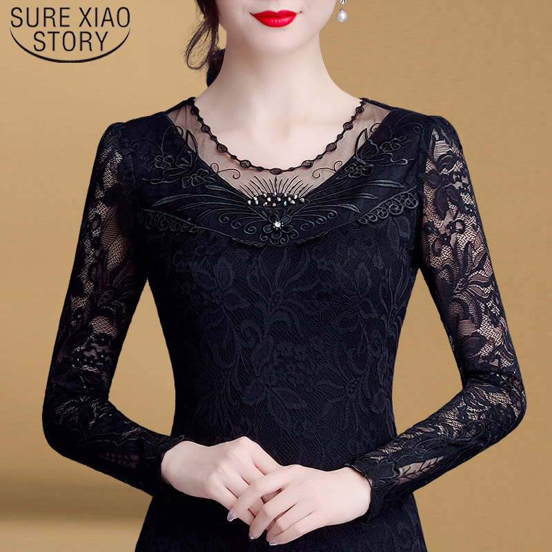 Slim Spring Autumn Long Sleeve Tops Sexy Hollow Lace Blouse Shirt Female  Blusas Mujer De Moda 2019 Female Shirt 6905 50