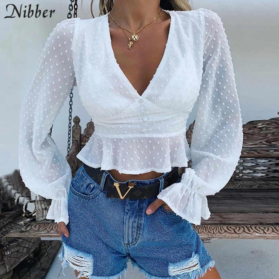 Nibber משרד גבירותיי אלגנטי לבן לפרוע יבול צמרות נשים 2019 סתיו אופנה פראי V-צוואר ארוך שרוול מקרית טי חולצות mujer