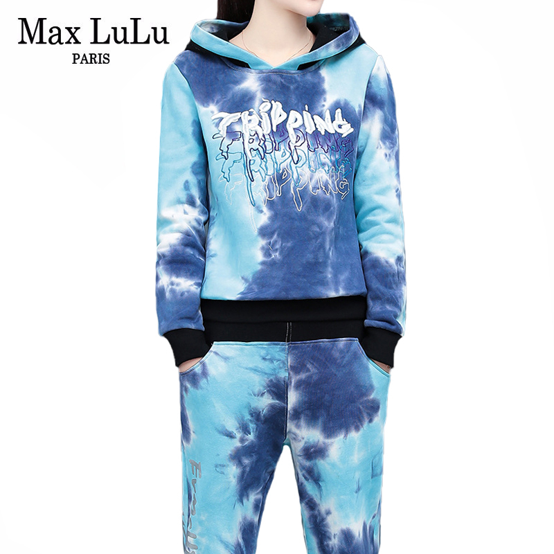 Max LuLu 2020 Spring Korean Fashion Ladies Embroidery Tracksuits Womens Hooded Sweatshirts And Pants Patchwork Two Pieces Sets