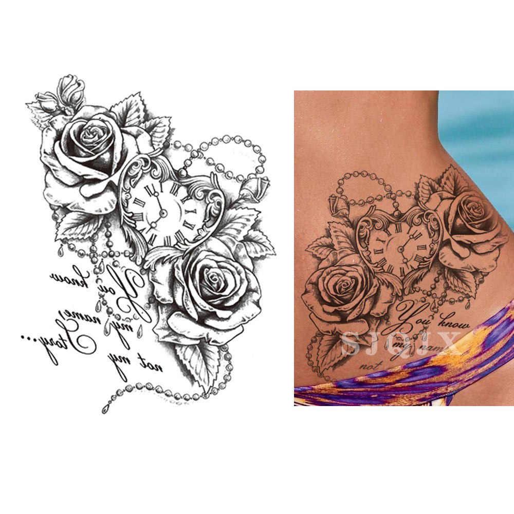 Geçici siyah dövme levha etiket seksi renkler sahte dövme saksağan kuş çiçek dövme su geçirmez küçük vücut sanatı erkekler kadınlar