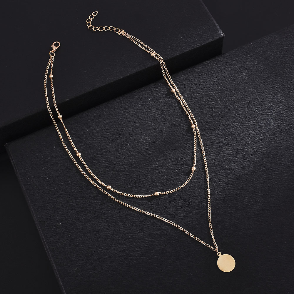 Collar metálico con forma de moneda de oro, estilo urbano, Retro, Simple, japonés y Corea del Sur, joyería para mujer