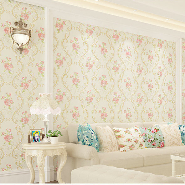 Romantic Pastoral Style 3D Coining Craft Non-woven Wallpaper Warm Living Room Girl'S Bedroom TV Backdrop Wall Wallpaper