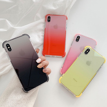 Gradient color case phone for coque iphone 8 7 xs shockproof cover xr xsmax x 6 6s plus luxury anti knock bumper cute