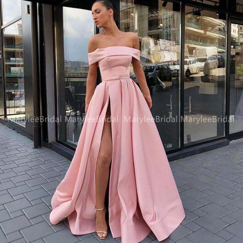 Graceful Long Prom Dress A-line Off Shoulder Front Split Pink Satin Floor Length Vestido De Festa Formal Evening Dress For Women