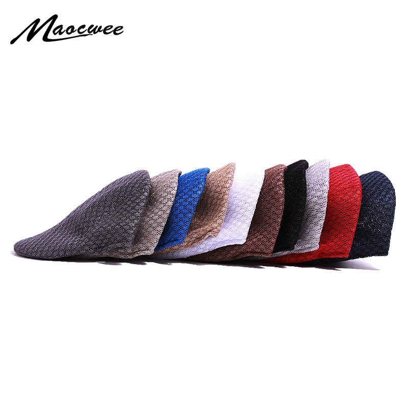 Beret Men's and Women's Elegant Flat Cap Retro <font><b>News</b></font> Cap Summer Autumn Hat Couples Beret Breathable Hat image