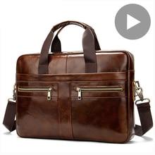 Bandolera de negocios de cuero genuino para hombre y mujer, maletín de mano para documentos, bolso de hombro A4, funda para ordenador portátil