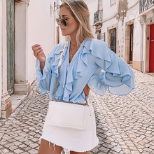 Women Blouses Ruffled Laminated Shirt, Western Bud Silk Gauze Top Tops Blusas Mujer Chemisier Femme Long Sleeve V-neck