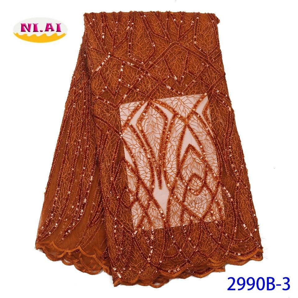 NIAL Gebrannte Orange Afrikanische Seuqins Spitze Stoff 2020 Bestickt Französisch Nigerian Spitze Stoff Hohe Qualität Spitze Für Party XY2990B-3
