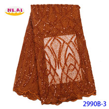 NIAI Burnt Orange African Seuqins Lace Fabric 2020 Embroidered French Nigerian Lace Fabric High Quality Lace For Party XY2990B-3