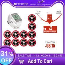 Retekess TD108 Hookah Wireless Pager Restaurant Waiter Call System Watch Receiver+10pcs Call Button Transmitter Bar Cafe Office