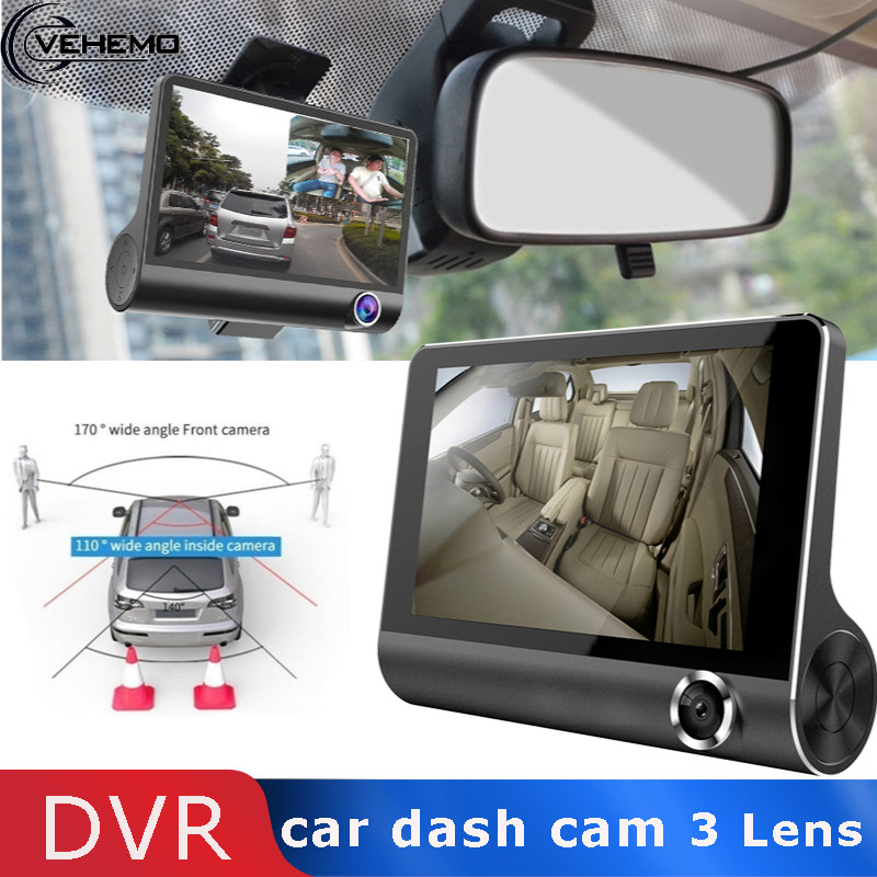 Vehemo With 3 Rear View 4inch HD Screen Car DVR Dash Cam Camera Multi Function Automotive Driving Recorder Kamera Multimedia