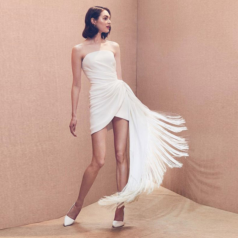 2019 Summer Autumn Women Elegant Sexy Solid White Cocktail Mini Dress Asymmetrical Strapless Ruched Irregular Formal Party Dress