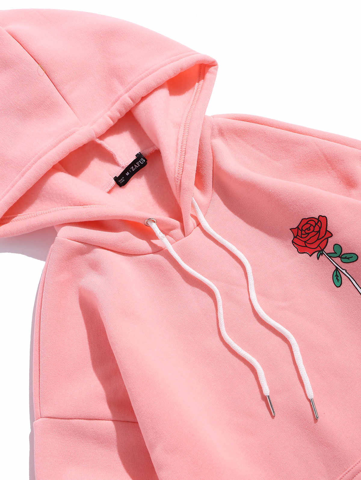 ZAFUL Rose Letter Graphic Fleece Pullover Hoodie Full Sleeves Flower Letter Printed Casual Sweatshirts Autumn Outdoor Wearing