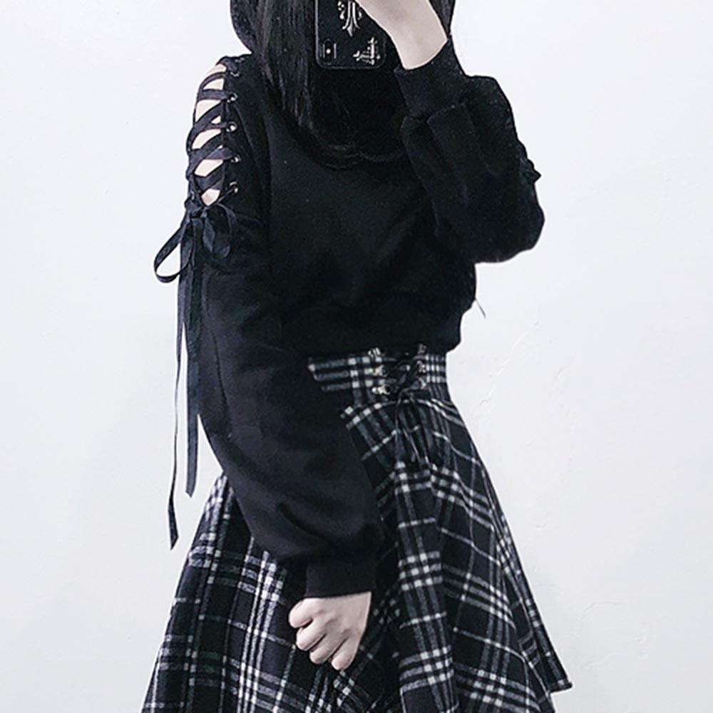 Rosetic Gothic Streetwear Black Hoodie Women Cat Ear Hooded Sweatshirt Goth Cool Hollow Ripped Hoodies Short Tops 2020 Spring