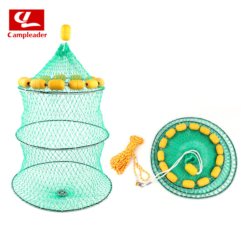 Outdoor Buoyancy Fishnet 3 Circle Folding Portable Fish Cage Multi-Float Ball Sea Fishing Protecting Wire Net Angling Fishing Ge