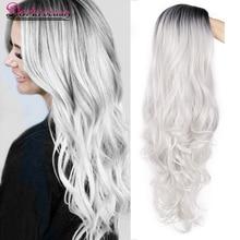 Doris beauty синтетический длинный волнистый Омбре серый парик для женщин косплей парик коричневый красный черный блонд Термостойкое волокно
