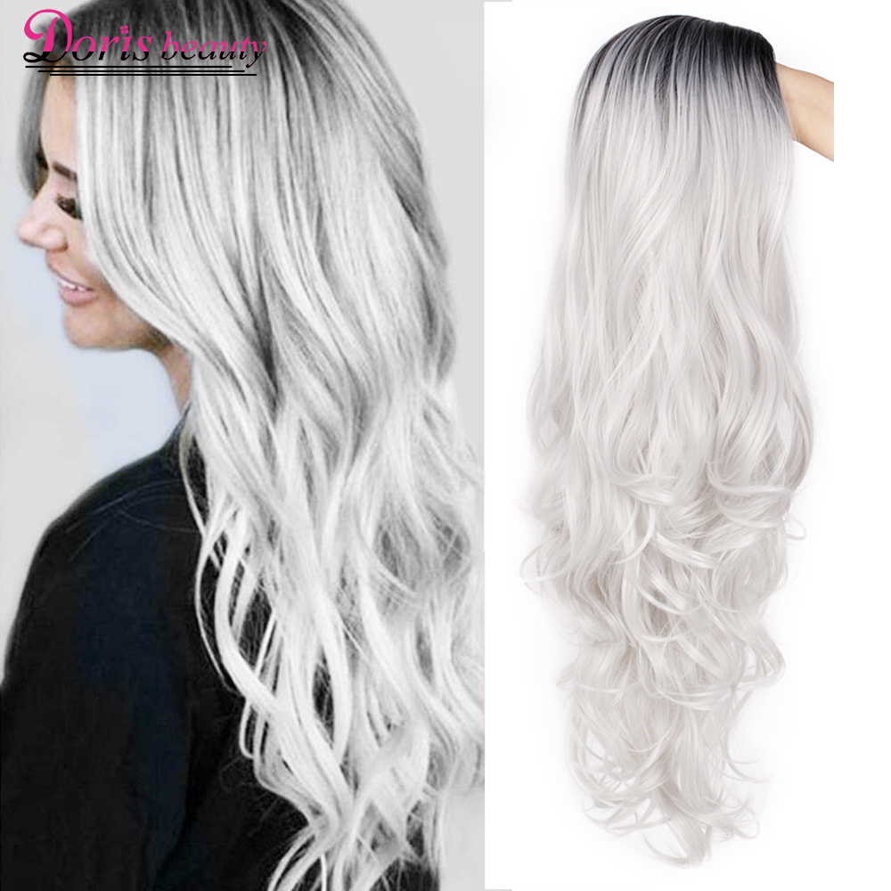 Doris beauty Synthetic Long Wavy Ombre Gray Wig for Woman Cosplay Wig Brown Red Black Blonde Heat Resistant Fiber(China)