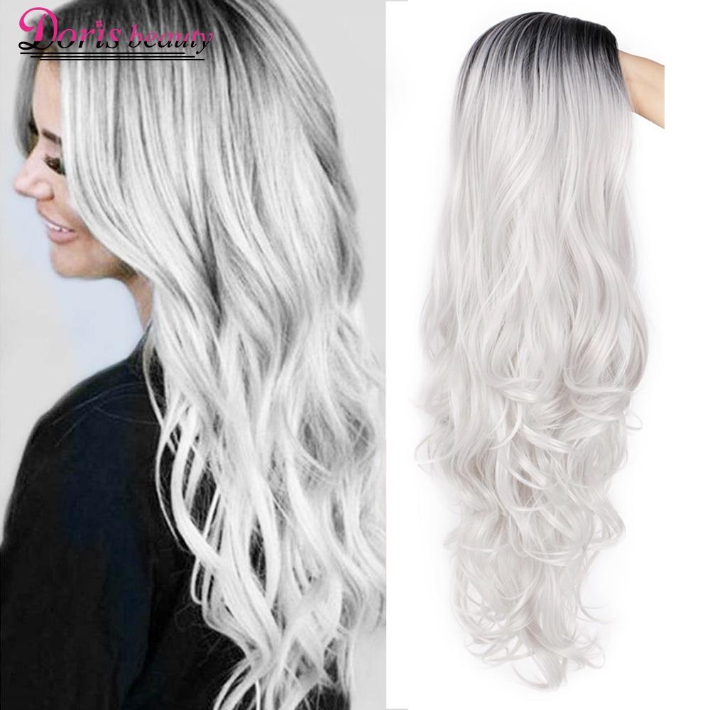 Синтетический длинный волнистый Омбре Doris beauty, серый женский парик для косплея, коричневый, красный, черный, блонд, Термостойкое волокно