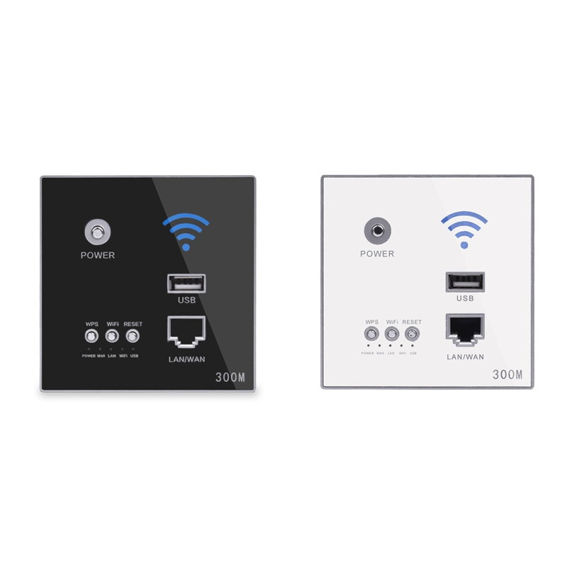 2 Pcs 300Mbps Wall Router 110V/220V Power Ap Relay Smart Wireless Wifi Repeater Extender Wall Embedded 2.4Ghz Router Panel Usb S
