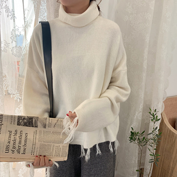 Ailegogo New Autumn Winter Women Sweater Casual Female Tassel Loose Fit Knitted Pullovers Turtleneck Short Ladies Knitwear Tops 4