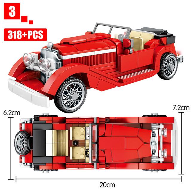 City Mechanical Classic Car MOC Model Bricks Creator Technic Classical Convertible Racing Vehicle Building Blocks Toys For Kids