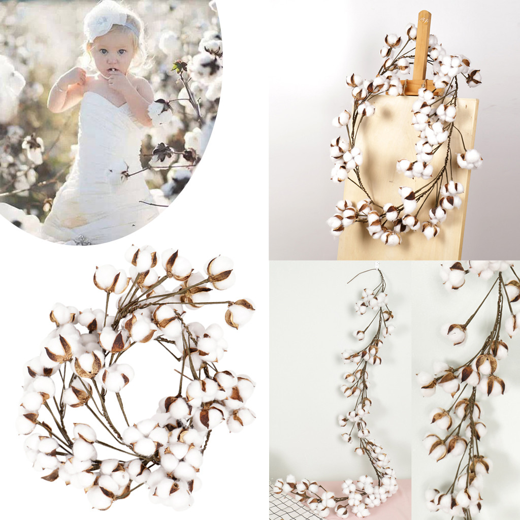 Handmade dried flower simulation cotton garland Cotton Stems Wreath With Full White Cotton For Front Door Wall Wedding Decor