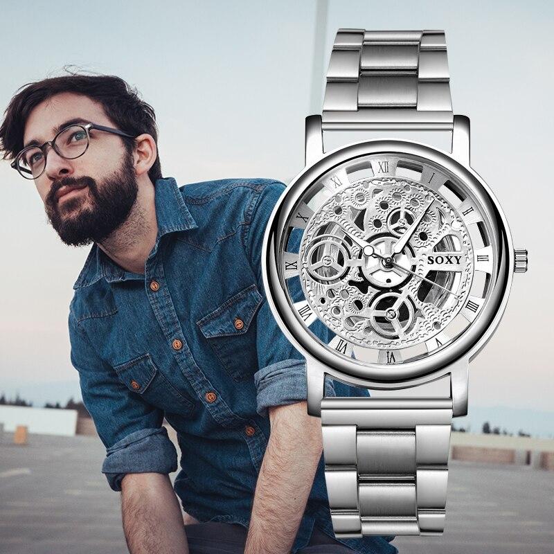 SOXY 2019 nuevos relojes de hombre esqueleto marca superior relojes de negocios de lujo banda de acero inoxidable para hombre reloj de fecha automática masculino saat Relojes de Acero para hombre, reloj de cuarzo de lujo para hombre, reloj de pulsera de 50m para hombre, para deportes acuáticos, 2017, reloj masculino