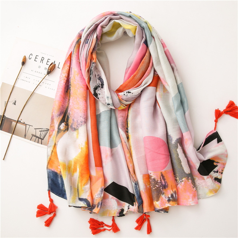 KYQIAO Ethnic HEAD scarf 2020 designer hijab scarf womens scarfs Spain style bohemian hippie geometric pattern