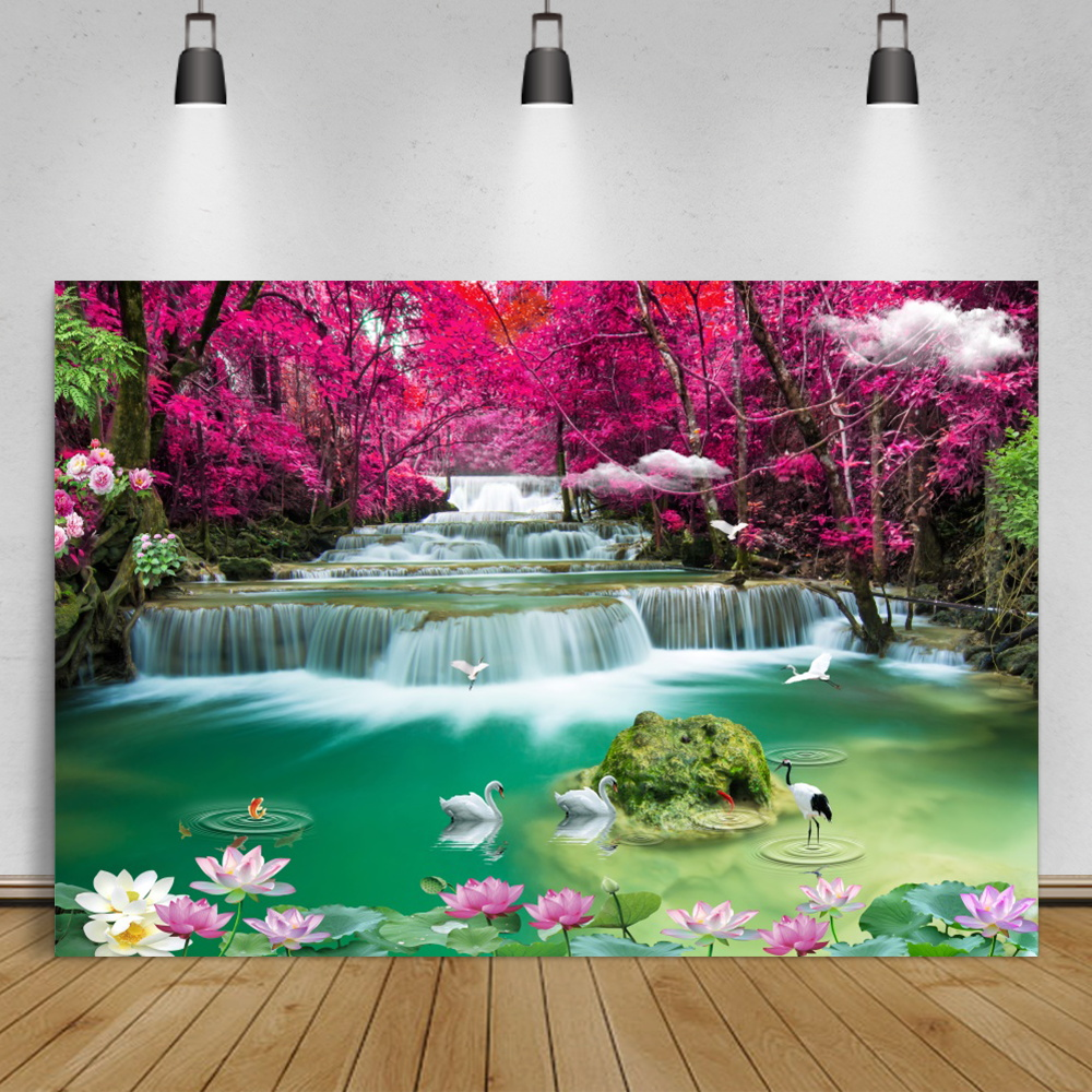 Natural Backdrops Mountain Waterfall Wonderland Creek Crane Flowers Party View Scenic Photography Backgrounds For Photo Studio