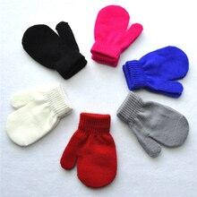 1 пара, Новое поступление, однотонные варежки с милым рисунком, детские перчатки, мягкие вязаные теплые перчатки аксессуары