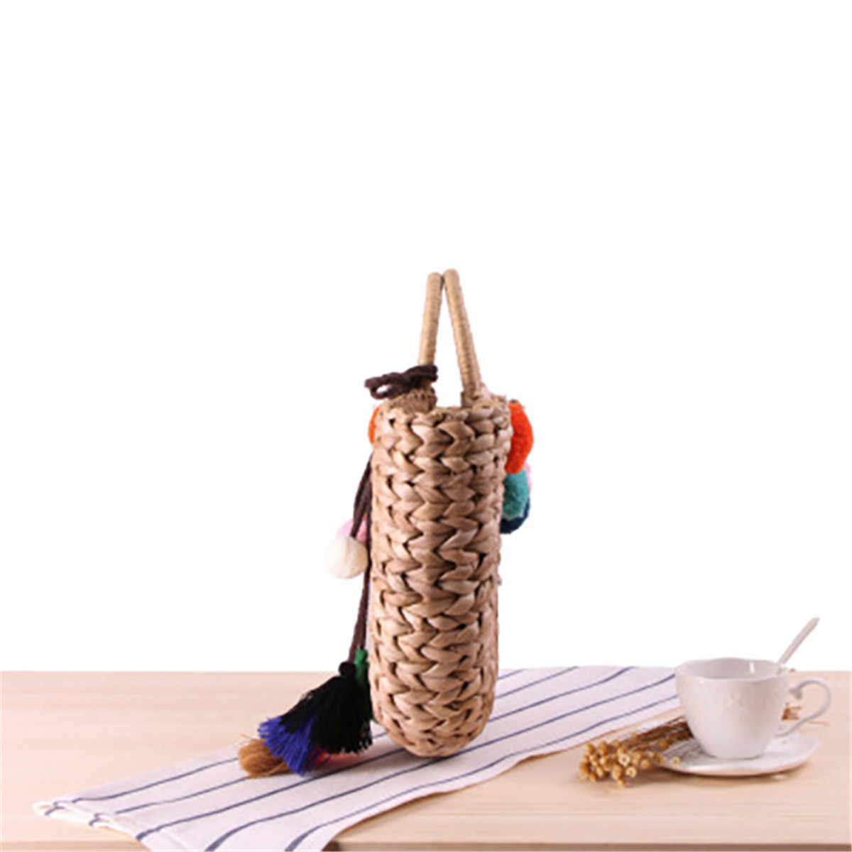 Aequeen соломенные сумки богемные Bolsas женская летняя пляжная сумка плетеная Сумка из ротанга ручной работы винтажный Плетеный Женский Сумочка Hairball Tassel 2019