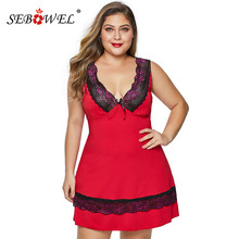 SEBOWEL Womans Black/Red Plus Size Lace Deep V Babydoll Bowknot Lingerie Dress+Thong 2 Piece Female Sleepwear Chemise Underwear