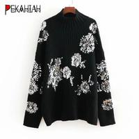 Fashion sequin turtleneck knitted sweater women pullove women casual thick pull femme korean winter clothes women 2019