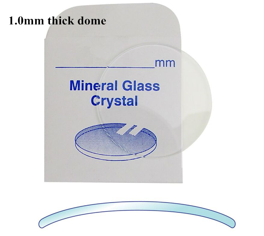 High Quality! Watch Crystal Domed And Round Mineral Glass Crystal 1mm Thick