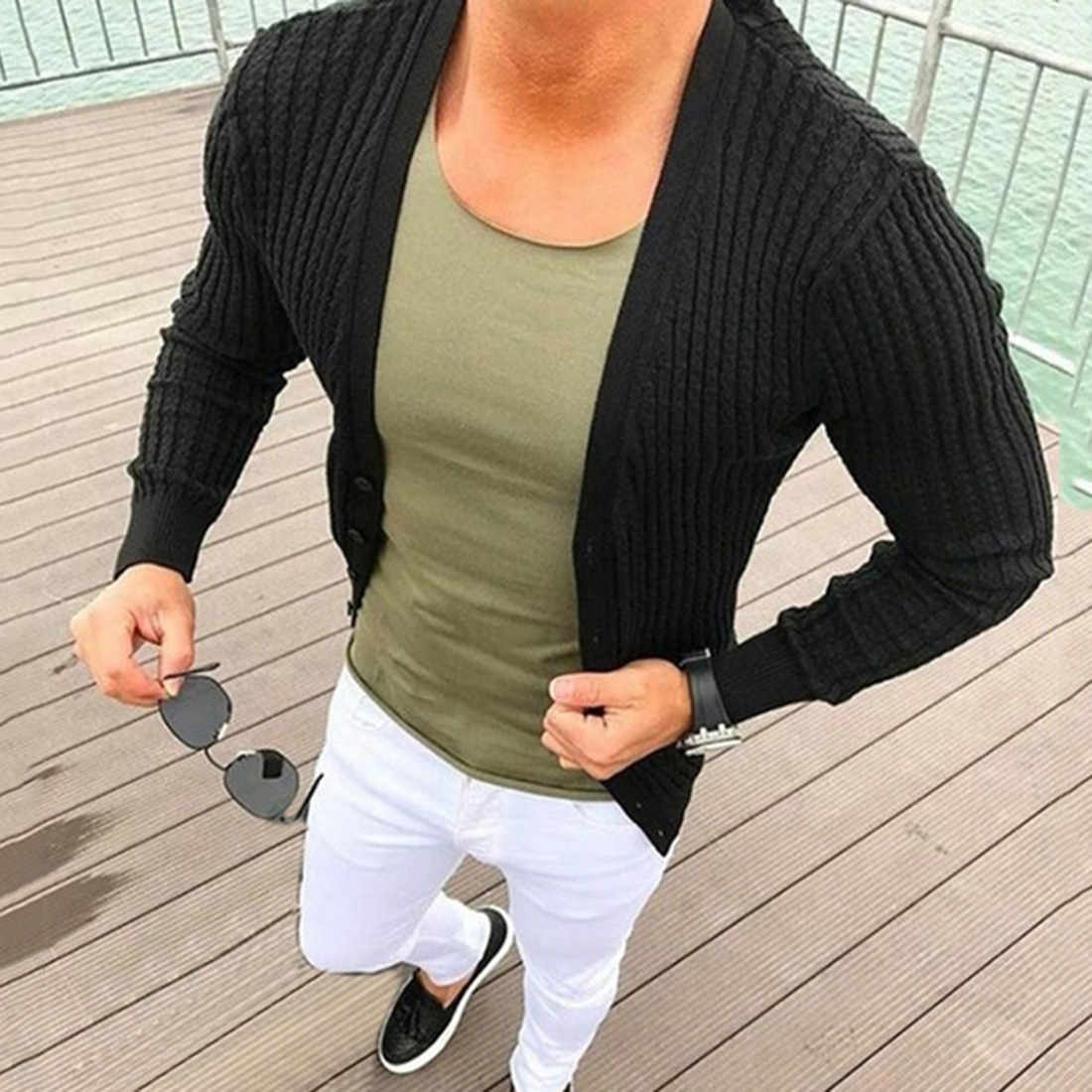 2020 Men Sweater Cardigan Slim Fit Knitted Mens Sweaters Coat Autumn Sweater Jacket Casual Knitwear Tops Tricot Ribbed Cardigan