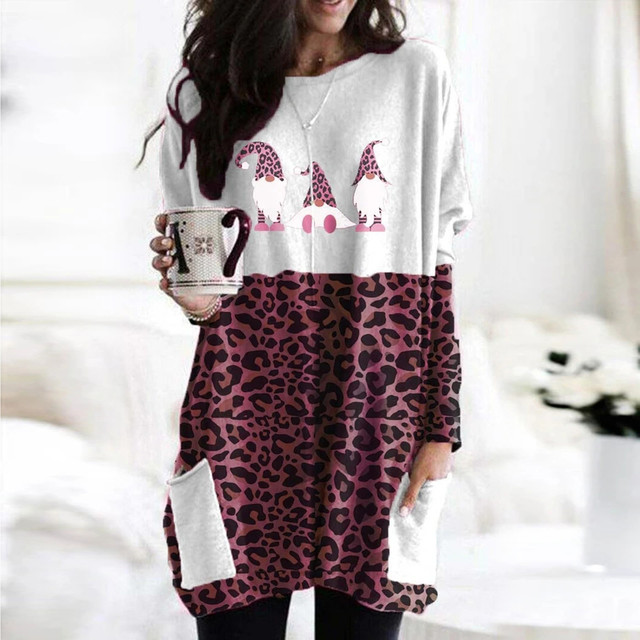 40# Plus Size Women Blouse Sexy Leopard Patchwork Loose Blouse Long Sleeve Christmas Printed O-neck Tops Tee Shirt Plus Size 3