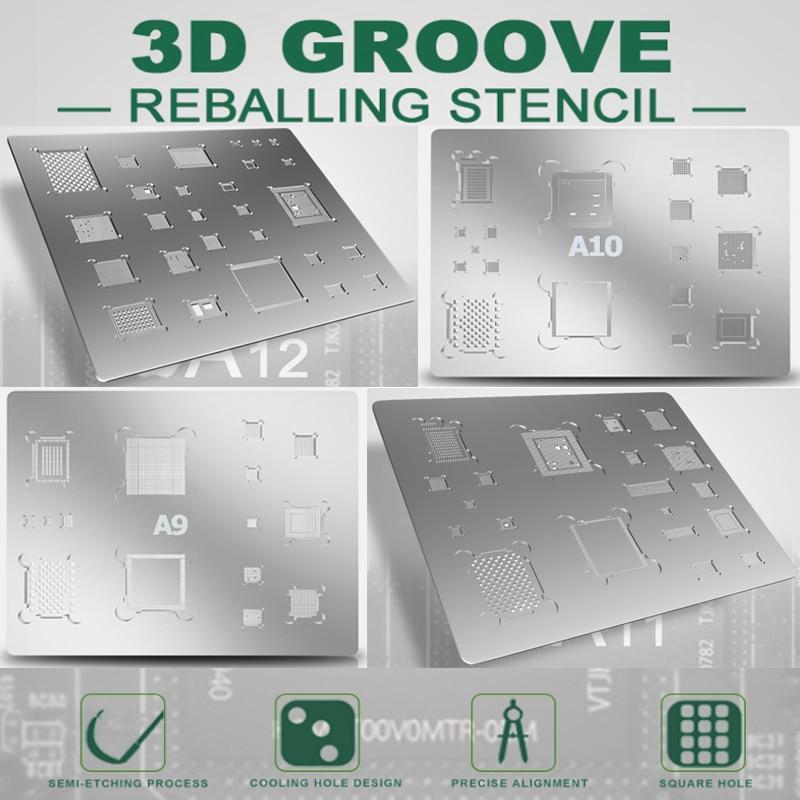 BEST 3D BGA Steel Net A8 A9 A10 A11 A12 For Iphone 6 6P 7 8 8P X XR Directly Heated Mobile Phone BGA IC Reballing Stencil