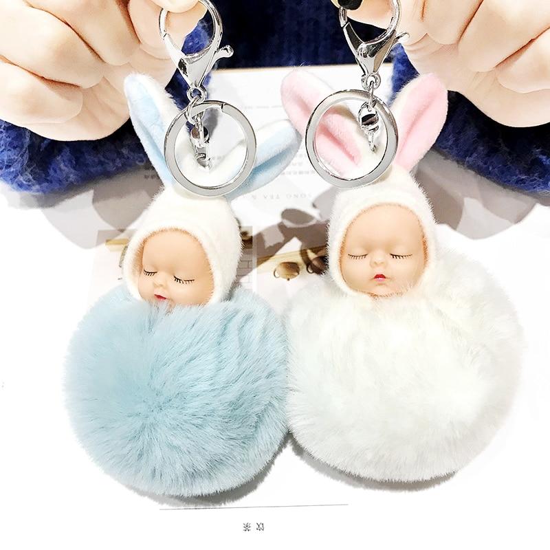 Plush Keychain Toys For Girls Soft Faux Rabbit Fur Ball Sleeping Baby Dolls Kpop Accessories Kawaii Keychains Plush Pendant Woma