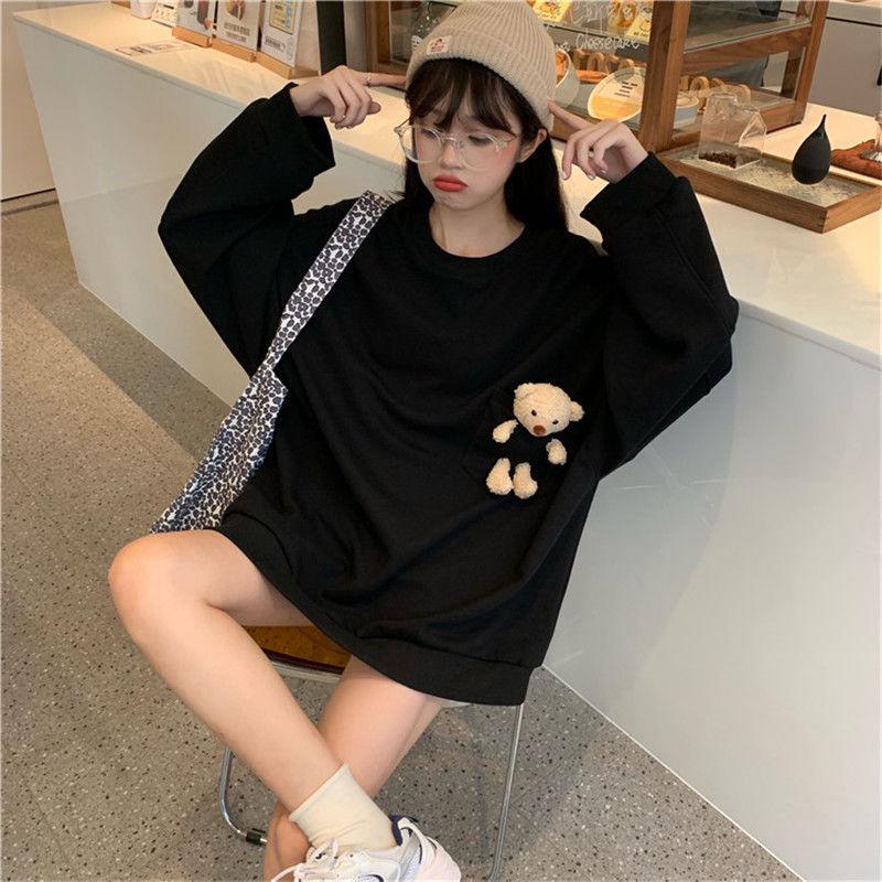 Sweatshirt Frauen Kawaii Kleidung Solide Oansatz Pullover Langarm Übergroßen Hoodie Koreanische Tops Herbst Winter Bär Hoodies