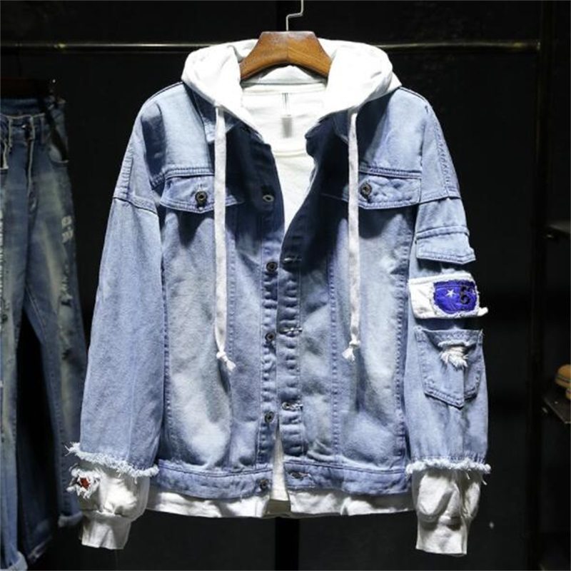 Men Denim jacket Ripped Joining Together Casual Mens Denim Jacket Patchwork Hip Hop Men Jacket #JK88
