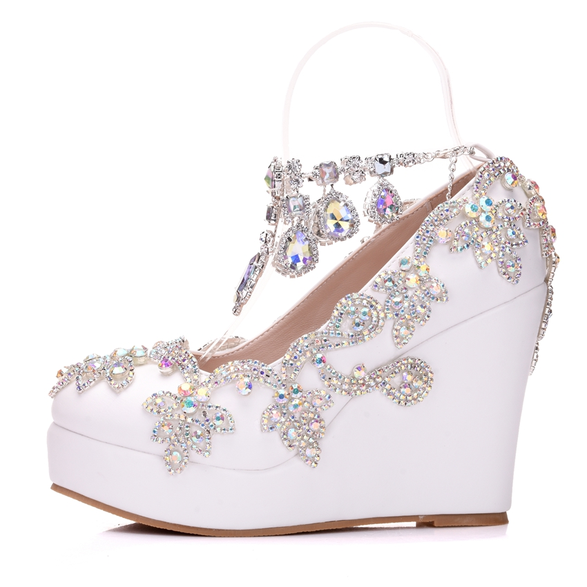 Crystal Queen Rhinestone Bride Wedding Shoes Woman Ankle Strap Shoes High Heels Wedges High Platform Shoes Pumps