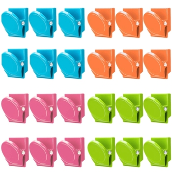 Magnetic Clips, 24 Pieces Magnetic Metal Clips, Refrigerator Whiteboard Wall Fridge Magnetic Memo Note Clips Magnets Metal Clip фото