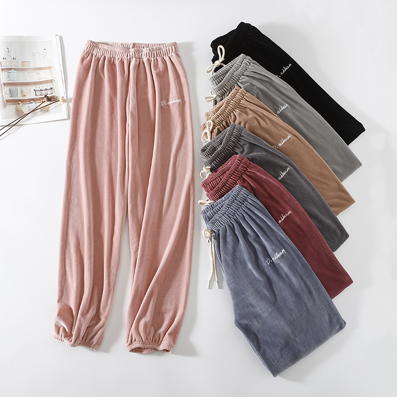 Autumn And Winter New Style Korean-style Loose Elastic Waist Trousers Solid Color Cationic Home Pants
