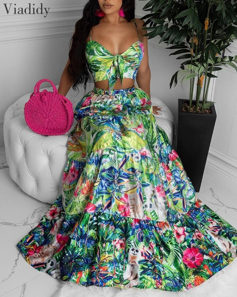 Women Bohemian Style 2pcs Suits Floral Print Sleeveless Knot Front Design Top and Print Ruched Maxi Skirt Set