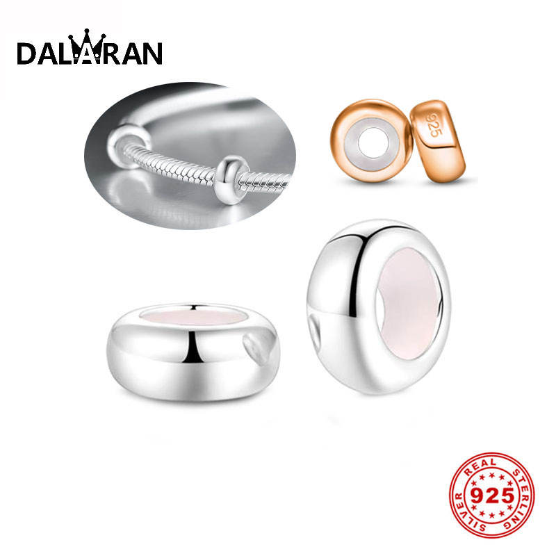 DALARAN 2Pcs 925 Sterling Silver Positioning Beads Fit Pandora Bracelet & Necklace For Women Charm Making  Diy  Fashion  Jewelry